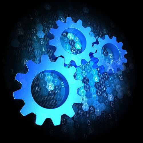 Blue Cogwheel Gear Mechanism Icon on Dark Digital Background.