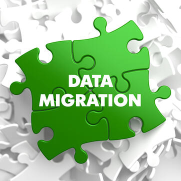 Data Migration on Green  Puzzle on White Background.-1