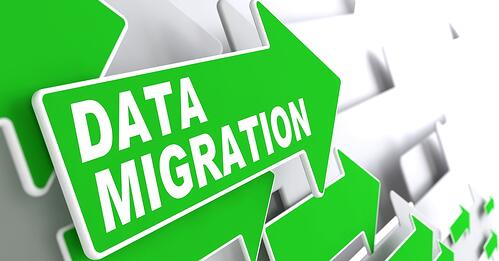 Data Migration. Green Arrows on a Grey Background Indicate the Direction.-1