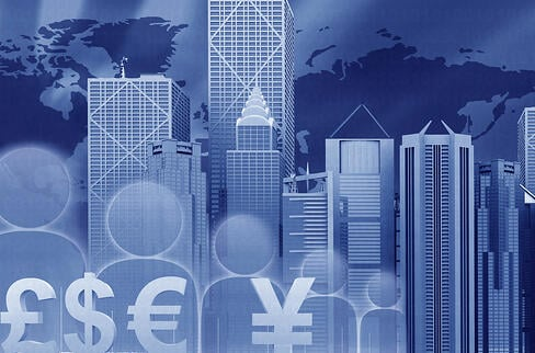Finance illustration with a business city landscape and currency symbols