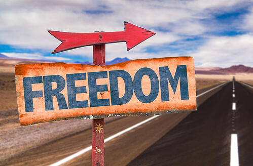 Freedom sign with road background